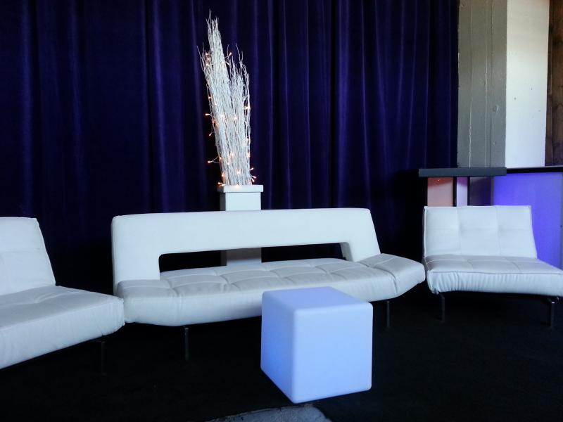 2 White Ottoman W Curved Bar & White Loop Sofa