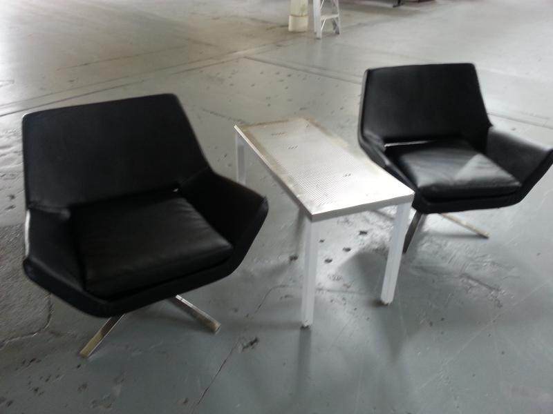 Black Leather Single Chairs & Stainless Table